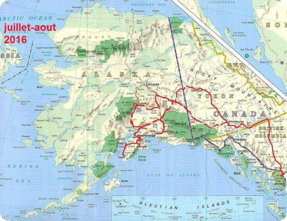 Carte routiere alaska