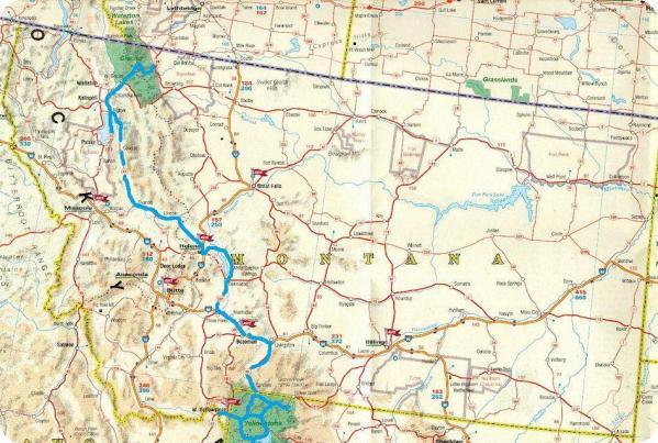 Carte routiere montana