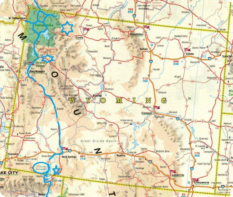 Carte routiere wyoming
